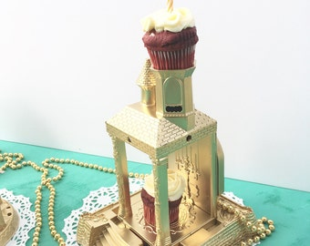 """Gold decor cake topper: """"Over-the-top"""" by PostalThreads, repurposed, gold, vintage style, party decor"""