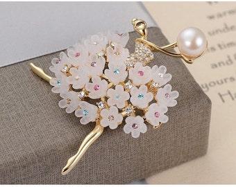 Brooch, Pin, Gemstone Brooch, Gemstone Pin, Butterfly Pin, Butterfly Brooch with Natural Pearl, Gemstone Handmade Jewelry