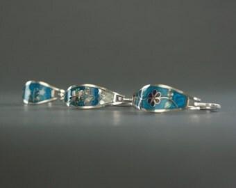 Blue Enamel and Abalone Inlay Bracelet