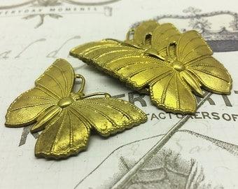 Vintage Set of Detailed Medium Solid Brass Butterflies