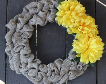 15-inch Handmade Burlap Wreath with Yellow Flowers