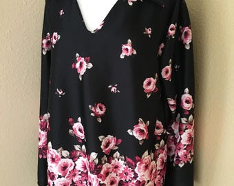 70s Black Floral Collared Blouse with Bell Sleeves