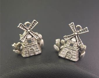 30pcs Antique Silver Windmill House Charms Pendant A2152