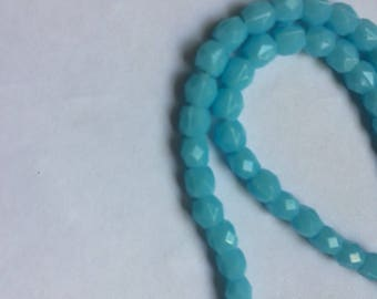 Totally Rad 100 Vintage baby blue 5mm faceted round Acrylic Beads from the '80s, 16 inch strand