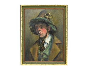 Vintage Oil Painting Young German Man w Chin Beard Wearing Tyrolean Hat