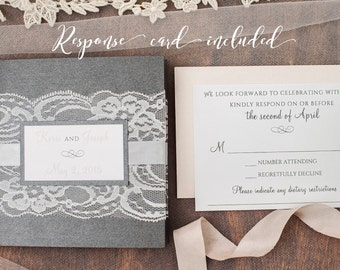 Invitation Suite- Lace and Ribbon Wrapped