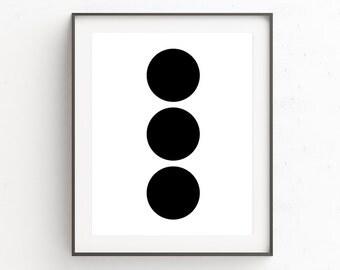 Minimalist Print Art, DIY Home Decorating, Cubicle Wall Decor, Cubicle Accessories, Modern Abstract, Geometric Art Prints, Circle Print