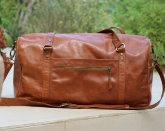 SALE 10%Waxed italian leather duffel,mens womens weekender duffle bag,personalized duffel,overnight bag,airplane bag,travel bag,sports bag