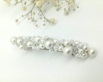Bridal hair barrette, pearl hair barrette, cotton pearl hair clip, wedding hair barrette, white pearl hair clip, crystal hair barrette
