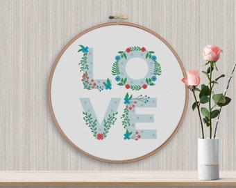 BOGO FREE! Love Cross Stitch Pattern, Floral Love Counted Cross xStitch, Flowers Letters, Modern Wall Decor, PDF Instant Download  #011-5