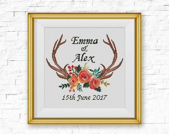 Wedding Cross Stitch Pattern, Personalized Wedding Gift xStitch, Floral Antler Deer Wedding, Modern Gift For Couples, PDF Pattern Download