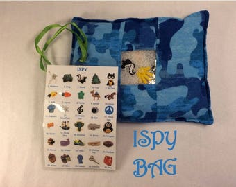 i Spy Bag: Quiet Toy Activity with 60 Search Items, in Blue Camo Print
