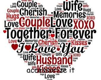 A4 or 5x7 Size Personalised Single Heart Word Art Print - Love, Wedding, Anniversary Gift *Digital File Also Available*