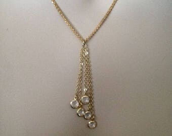 Crystal necklace, gold necklace, gold filled necklace, gold chain, gold jewelry, gift for her, birthday gift, gifts