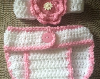 White and Pink Diaper set, Headband and matching Diaper Cover 2 Pc Set, Crochet Baby Photo Prop, Newborn, Hairband and Diaper Set, Baby set