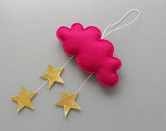 Mini Cloud Mobile -  Baby Mobile - Nursery Mobiles - Baby Girl Nursery - Cloud theme Decor - Baby Nursery Decor - Photo Prop - Baby Gifts