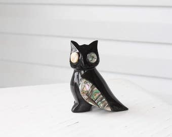 Amazing Vintage BLack Onyx Stone Owl Figurine with Mother of Pearl Accents