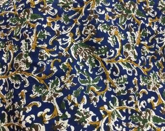 Kalamkari Print, Indian Cotton Print, Floral Vines, Indigo Fabric, Kalamkari Fabric, Fabric by the yard, kalmkari design