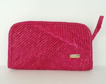Vintage 80s Hot Pink Straw Purse, Large Clutch, Wristlet, Wrist Purse, Hot Pink Purse, Preppy Purse, Pink Clutch, Woven Purse, Summer Bag