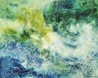Fine Art Print - Crystalline flow structures (green-blue)