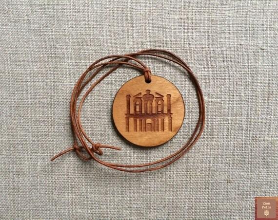 The Treasury Al-Khazneh Petra Kadesh-Barnea Carved Pendant—Recycled Cherry Wood & Chemical-Free Earth-Brown Leather