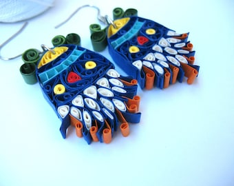 Boho earrings, blue quilled paper earrings, flowers earrings, paper anniversary, free shipping