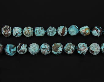 Natural Blue Color Ocean Jasper Faceted Nugget Loose Beads Bulk,Large Raw Jasper Cut Chunky Beads Pendant Necklace,Craft Jewelry,about 20pcs