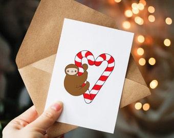 Sloth Christmas Card, Cute Holiday Card, funny Christmas card, Card for Friend, sloth illustration, Christmas Card Pack, Sloth gift ideas