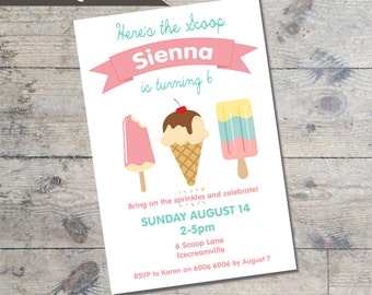 ICE CREAM  Kids party invitation DIY Printable Ice cream theme party invitation