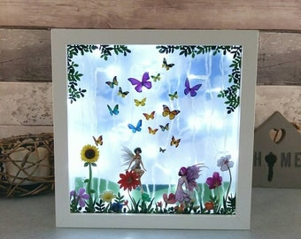 Butterfly fairy night light, kids room lighting, unique decor for her, fairies lightbox, daughters birthday, little girls room, Table lamp