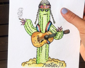 Willie Nelson Cactus Print