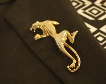 Vintage GIovanni MMOO Signed Panther Gold Tone Brooch