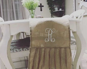 Burlap Table Runner with Initial