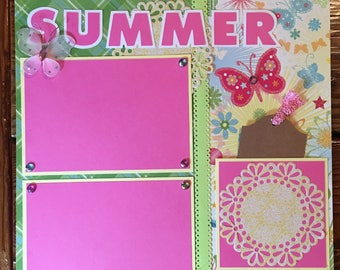 "Premade 12""x12"" Summer Scrapbook Page. Scrapbooking Layout. Flowers. Butterfly. Tag. Scrapbook Album. Embellishments. Papercraft. Girl Page."