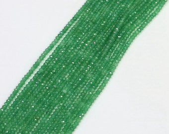 One Full 15 inch Strand 2x4mm Tiny Faceted Rondelle Green Aventurine Beads SKU-G168