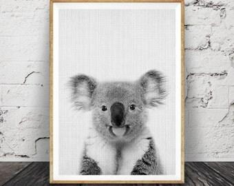 Baby Shower Gift, Koala Bear Print, Nursery Animal, Printable Instant Download, Black White Grey Gray Decor, Kids Room, Modern Poster