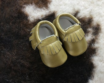 CLEARANCE!! Golden moccs, Gold Moccasins, baby moccs, baby moccasins, baby shoes