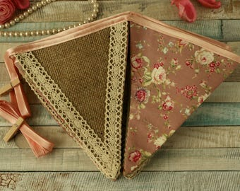 Floral fabric bunting, burlap garland, shabby chic decor, rustic decoration, dusty pink, vintage party decorations, lace banner, home decor