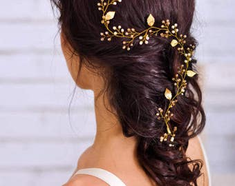Bridal hair vine Wedding headpiece Wedding hair vine Bridal hair piece Long hair vine  Grecian gold leaf Crystal hair vine Bridal veil pin
