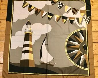 Silk Square Scarf. Nautical Scarf. Lighthouse, Ship, Flags & Compass. Nautical 1970's.