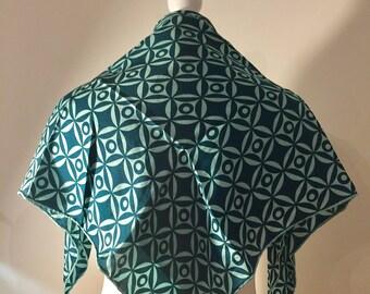Silk Square Jacqmar Scarf. Geometric Print. Mint Green & Dark Green. Hand Rolled Edges. Circa 1970's
