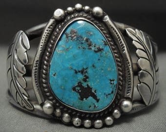 Old Morenci Turquoise Vintage Navajo 'Mirrored Turquoise' Silver Bracelet