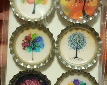 Colorful Tree Bottle Cap Magnets