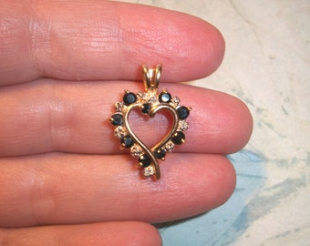 """Vintage Signed 925 R China Heart Pendant,2.6g,Sterling silver,Gold wash,Vermeil,black,clear stones,Not Scrap,1"""" by 5/8"""""""