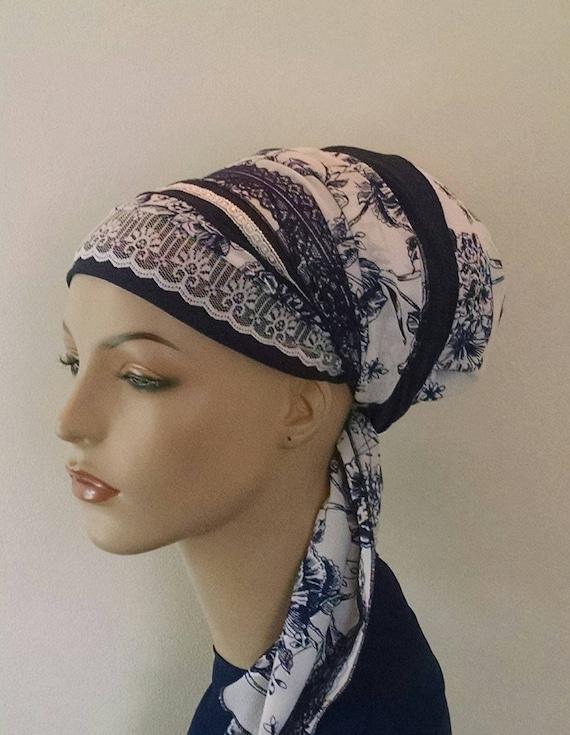 Rich romantic blue sinar tichel, tichels, apron tichels, chemo scarves,  head wraps, head scarves