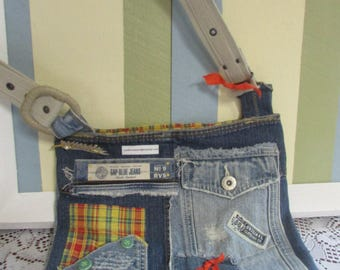 Denim purse hand bag shoulder with materials made recycled Handmade Purse With Old Jeans
