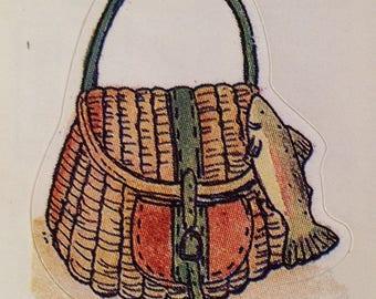 Fishing creel bag sticker, wicker fishing creel
