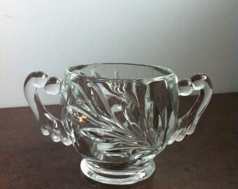 Vintage Sugar Bowl -  Indiana Glass - Oleander Pattern - Pressed Glass Sugar Bowl - Retro Kitchen Decor