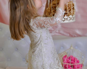 First communion dress toddler girl/Bridesmaid dress floral embroidery lace/Attending wedding dress lace toddler maid of honor dress sequins