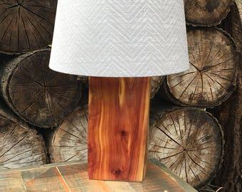 Super glossy red cedar log lamp
